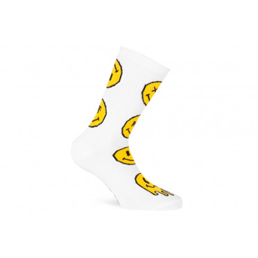 Paire de chaussettes cycliste PACIFIC & CO - Smiley (Blanc)