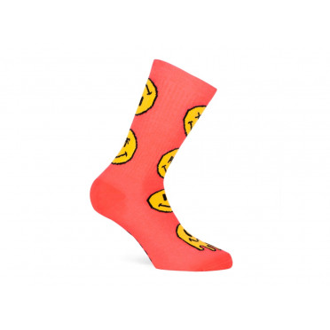 Paire de chaussettes cycliste PACIFIC & CO - Smiley (Corail)