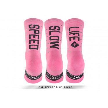 Paire de chaussettes cycliste PACIFIC & CO - Speed / Slow Life (Rose)