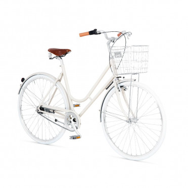Vélo de ville à rétropédalage BIKEID Step Through 7 - Beige